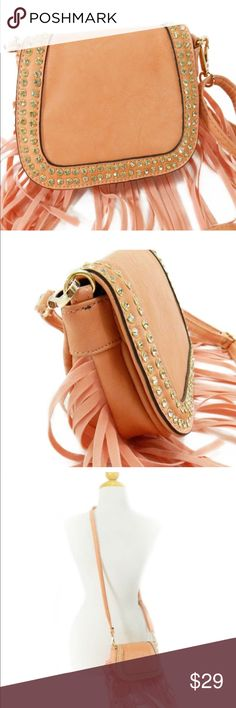"""Mini Pink Messenger Bag with Fringe Color: pink;  dimensions: 7""""x 5-1/4""""x 2-3/4"""";  1-interior zipper pocket;  faux leather including fringe;  studded rhinestones; Bags Crossbody Bags"""