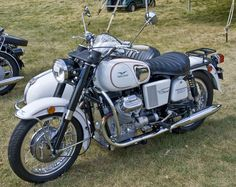 Moto Guzzi Ambassador › 1973 Custom White Moto Guzzi Eldorado With Swallow Sidecar Front Left Angle Above View