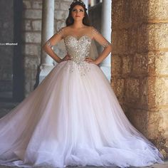 Ball-Gown-Arabic-Wedding-Dress-With-Half-Sleeve-Illusion-Neckline-Crystal-Beaded-Corset-Bridal-Gown-For.jpg (800×800)