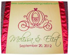 Disney themed aisle runner with custom carriage and glitter by www.customizedweddingcreations.com