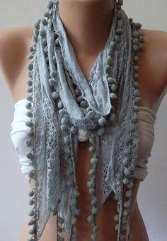 Grey - Lace and Elegance Shawl / Scarf - with Pompom.