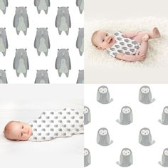 Boo & Hoo (bear & owl) surface pattern design (fabric, wrapping paper & wallpaper) - by Mel Armstrong Design