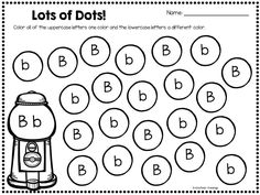 Fun and engaging letter recognition activity.  Students use a bingo dauber, sticker or markers to look for and color uppercase and lowercase letters! $