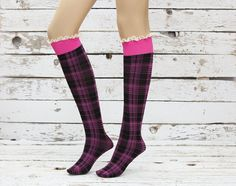 Love these!!!!! Soft Knee Highs Pinkblack lace socks sexy leg by DayfitFashion, $19.99