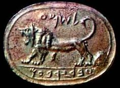 Megiddo Seal - Biblical Archaeology in Ancient Israel (Bible History Online) Israel: Megiddo Babylonian Period Reign of Jeroboam, (8th cent. BC) Roaring Lion with curved tail Jasper, Inscription Oval-shaped, Scaraboid 1.2 H, 1.5 in W A single line encircles the seal (Babylonian Per. Hebrew Script) Discovered in 1904 Lost in Constantinople Archaeological Museum, Istanbul R: Rockefeller Museum, Jerusalem Seal Discoveries in Israel