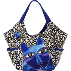 Laurel Burch Whiskered Cats Tote Tote (1 015 UAH) ❤ liked on Polyvore featuring bags, handbags, tote bags, blue, fabric handbags, purse tote, man bag, handbags totes, blue tote bag and tote handbags