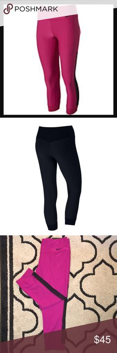 The Nike Legend Tight Fit Capri Pant Keep calm and crush your most intense workout in the Nike Women's Power Legend Capris. Designed with ultra-smooth Nike Power fabrication, these body-hugging bottoms provide a slimming silhouette and unparalleled support, while flatlock seams reduce irritation from chafing for a comfortable fit. Complete with a wide waistband for a secure fit around your hips, exude confidence when you train in the Nike Power Legend Capris. Color: pink/Fuscia with Black…