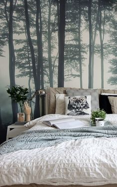 Home Decor Habitacion The Sea of Trees forest wallpaper by MuralsWallpaper has been styled here by a customer as part of a cosy, green and neutral bedroom look. We love the colors and Hygge vibes! Great inspiration for your own bedroom decor. Bedroom Wallpaper Neutral, Tree Wallpaper Bedroom, Forest Wallpaper, Blue Bedroom, Trendy Bedroom, Home Decor Bedroom, Girls Bedroom, Master Bedroom, Bedroom Ideas