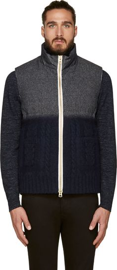 08Sircus: Gray & Navy Mixed Puffer Vest   SSENSE