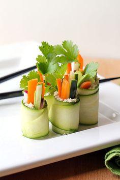 Raw Zucchini Sushi Rolls.