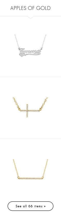 """""""APPLES OF GOLD"""" by ahmady ❤ liked on Polyvore featuring jewelry, necklaces, white gold jewelry, white gold heart jewelry, white gold necklace, heart jewellery, heart necklace, diamond bar necklace, gold cross necklace and gold crucifix necklace"""