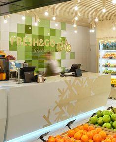 Fresh juice bar decor by yudin design studio - interiorzine Fresh Juice Bar, Fresh Fruit, Fruit Juice, Design Studio, Juice Bar Design, Juice Store, Vegetable Shop, Fruit Shop, Counter Design