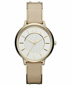 A|X Armani Exchange Watch, Women's Gold-Tone Stainless Steel and Nude Leather Strap