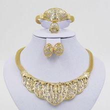 Nigerian Accessories Wedding African Beads Jewelry Set 18k Gold Plated Crystal Vintage Earring Bracelet Necklace Ring Jewellery