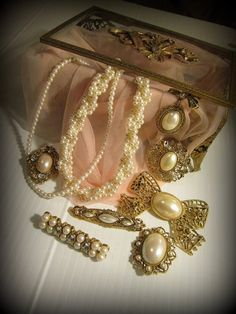 Vintage Lot 1928 Jewelry Company Pearl and Bow Lot Victorian Art Nouveau Pins Valentines Day More