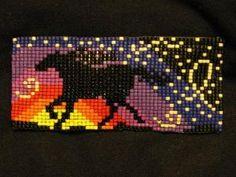 Horse Silhouette in Rainbow Sunlight  Bead Loom Hair Barrette by debora