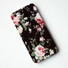 iPhone Case, Pink Floral Pattern on Black Fabric