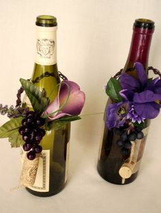 wine bottle centerpieces for wedding | ... to Vineyard Wedding Purple Centerpieces Wine Bottle Toppers on Etsy