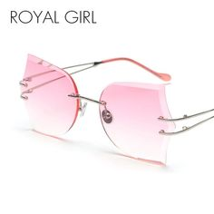 #FASHION #NEW ROYAL GIRL Rimless Sunglasses for Women 2018 New Butterfly Frame Cutting Lens Fashion High Quality Shades Sun Glasses ss201