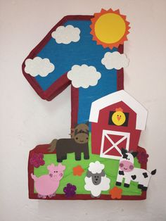 Farm by aldimyshop Farm Animal Party, Farm Animal Birthday, Barnyard Party, Farm Party, 1st Boy Birthday, First Birthday Parties, First Birthdays, Festa Toy Story, Barn Parties