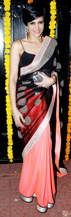 at Ekta Kapoor's 2013 Diwali Party Mandira Bedi looks beautiful in a multi color Saree