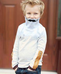 Kid Swag Gray Mustache Zipper Turtleneck Sweater