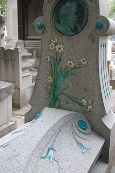 Art Nouveau tomb in the Montparnasse Cemetery in Paris
