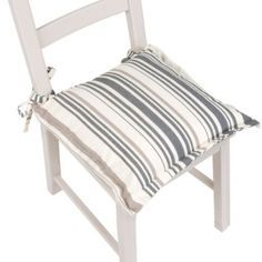 Edworth Mid Grey Striped Seat Pad: Image 1