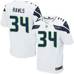 Nike Elite Thomas Rawls White Men's Jersey - Seattle Seahawks #34 NFL Road