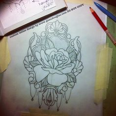Cover up on the on the butt. Hihi she sent me the awesomest reference in the gosh darn post!! Too cool, who doesn't love snail mail ?  Should be fun. :) #tattoo #tattoos #rose #sketch #linedrawing #frame #process   (Taken with Instagram)