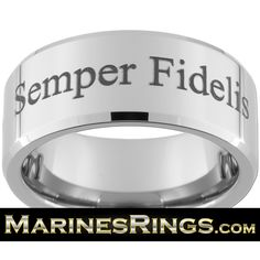 USMC Semper Fidelis Tungsten Ring With FREE Inside Engraving Perfect Wedding Band Graduation Gift