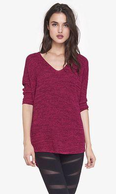 -Sz Sm - Navy, Black, Grey, Purple, Dark Pink/Maroon etc. Marled Express London Tunic Sweater from EXPRESS