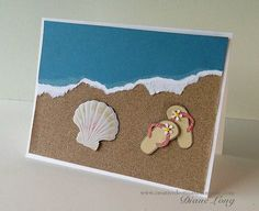 Beach Flip Flop Card using a stamp, brass stencil and sandpaper. More ideas and inspiration at Creative Destinations Guide