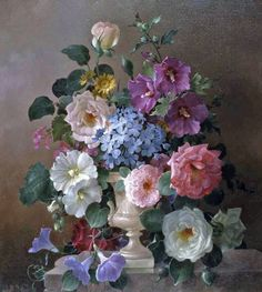 Harold Clayton (1896-1976) - Still life with flowers, oil on canvas.