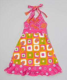 Another great find on #zulily! Orange Square Flower Halter Dress - Toddler & Girls #zulilyfinds