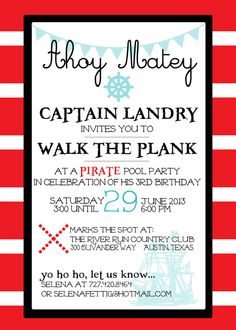 Pirate party invitation shiver me timbers 250 via etsy pirate party invitation childs birthday party by beanpress on etsy stopboris