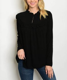 Loving this Black Ruffle Button-Front Top on #zulily! #zulilyfinds