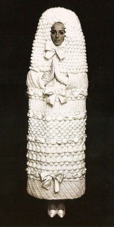 This Yves Saint-Laurent wedding dress is out of this world! Knit and weird and wonderful!