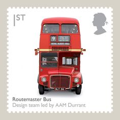 The London Transport Routemaster bus, a design classic, immortalised on a stamp