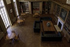 Two-Story Library in Monticello, Illinois <-- Must Visit! Poker Table, Illinois, Home Appliances, Space, Libraries, Furniture, Books, Libros