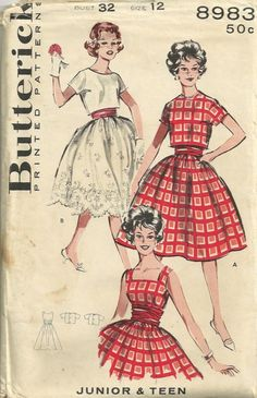 Butterick 8983 1950s Cropped Jacket and Full Skirt Party Dress vintage seiwng pattern by mbchills