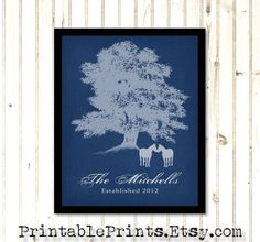DIY Personalized Wedding Gift Horses Tree Love. Printable