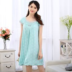 Woman summer short-sleeved nightgown modal lace Korean version of sweet princess  women tracksuit free home delivery #Affiliate
