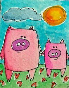 I raise these little pigs and am always looking for pig stuff. Art Drawings For Kids, Drawing For Kids, Art For Kids, Pig Illustration, Ink Illustrations, Pig Art, Ecole Art, Kindergarten Art, Preschool