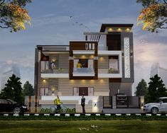 3 Storey House Design, Duplex House Design, House Front Design, Modern House Design, Building Elevation, House Elevation, New House Plans, Facade House, Exterior Design