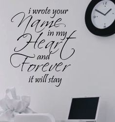 Vinyl Wall Lettering Words Quote Romantic Wrote Name in Heart