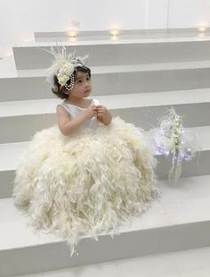 Stunning custom made ivory flower girl dress,toddler flower girl,baby flower girl dress,ivory feather tutu dress,ivory jr. Country Wedding Dresses, Modest Wedding Dresses, Designer Wedding Dresses, Wedding Gowns, Princess Wedding Dresses, Bling Wedding, Lace Wedding, Bridal Gowns, Ivory Flower Girl Dresses