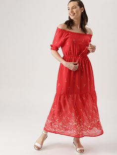 3ce3cb957ca Buy DressBerry Women Red Printed Maxi Dress - Dresses for Women