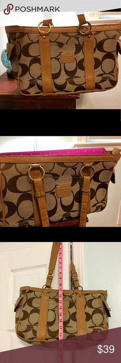 Coach Shoulder Bag Coach Brown Bag 💐Used condition, where the handle meets the bag it is very worn, still usable, small stains on side pockets and front of the bag ( all picture above ) 💐 Lots of life left!                                                      🌻Reasonable Offers Welcome🌻 Coach Bags Shoulder Bags