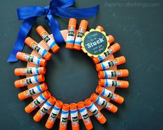 Back to School Glue Stick Wreath | An adorable teacher gift craft for the classroom!